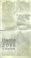 Hesla Jednoty bratrské 2018 (s diářem)