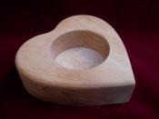 Srdce - svícen dřevěný (10 cm)