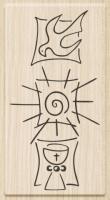 Razítko dřevěné (5x10 cm) - holubice, slunce, kalich