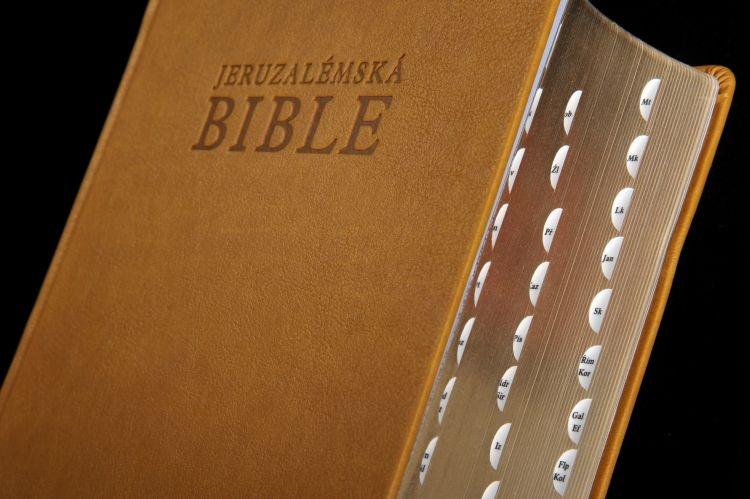 Jeruzalémská Bible (koženka, zlatá ořízka, vyražené záložky)