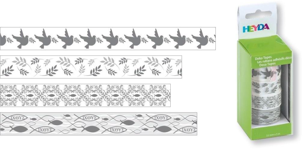 Dekorační lepicí páska papírová, bílá/střbrná - 1,5 cm x 5 m (4ks)