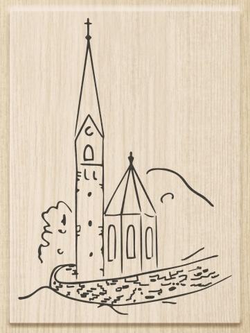 Razítko dřevěné (6,5x9 cm) - kostel