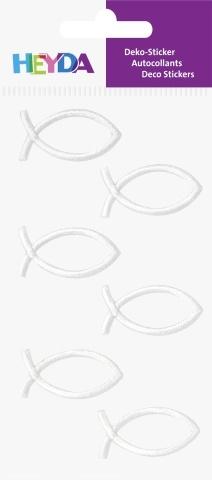 3D samolepky ryby bílé 35x18 mm (6 ks)
