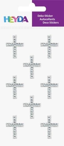3D samolepky kříže stříbrné - 23x18 mm (8 ks)