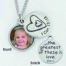 Photo necklace - 1 Cor. 13:13 (19x19 mm, řetízek 60 cm)