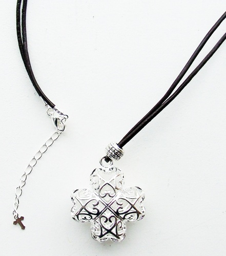 Open cross on leather cord
