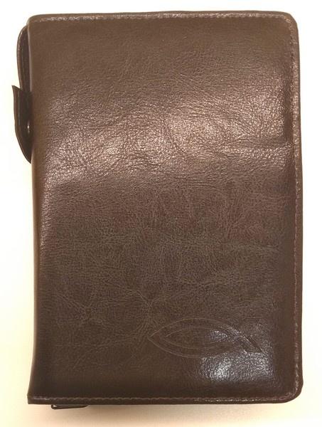 obal na Bibli B21, 188x127x32 mm, hnědý, imitace kůže, vyraž...