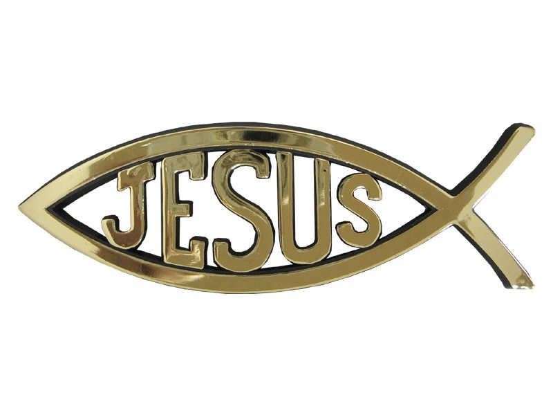 Fish with Jesus - Gold colored