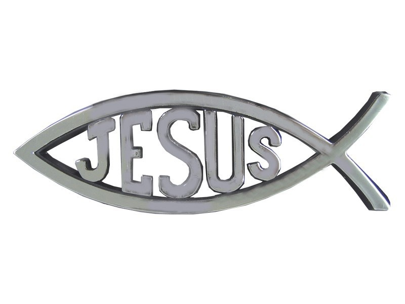 Fish with Jesus - Silver colored
