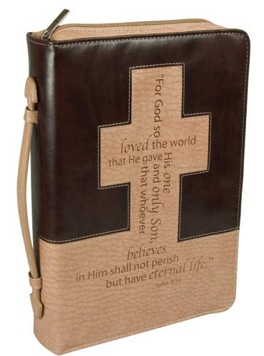 Biblecover Brown Tan - John 3:16 - LuxLeather